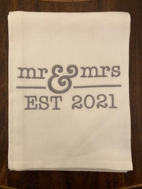 Babcock Exclusives  Hanging By a Thread Mr and Mrs Est. 2021 Towel HBT-187 $15.50