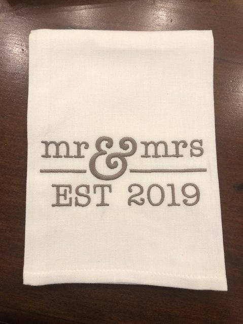 Babcock Exclusives  Hanging By a Thread Mr. and Mrs. Est. 2019 Towel HBT-172 $15.00