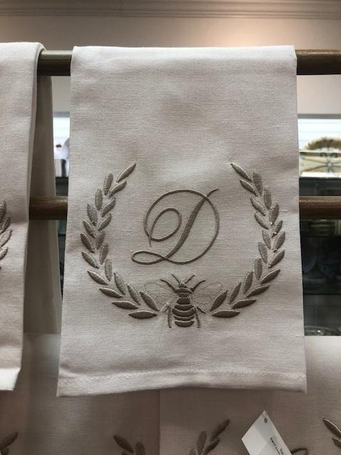 Babcock Exclusives  Hanging By a Thread White Khaki Bee Laurel Initial Towel HBT-037 $15.50