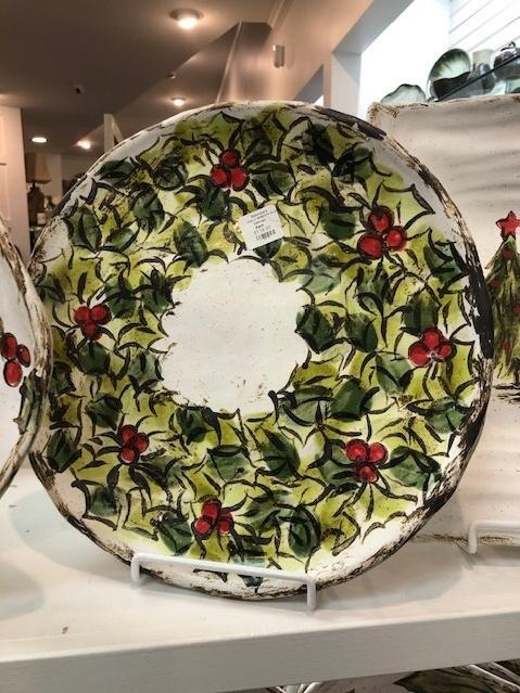 Etta B Pottery  Seasonal Holly Wreath Platter EBP-452 $116.00