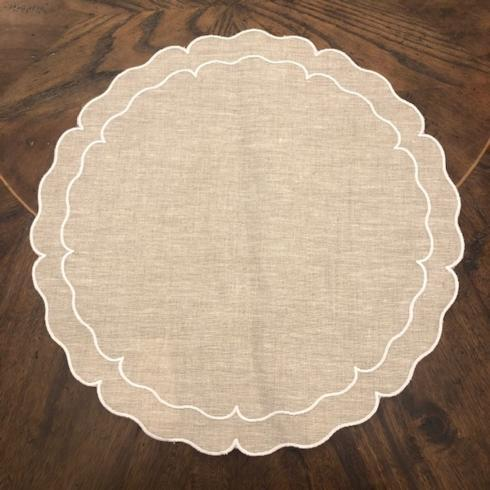 Babcock Exclusives  Skyros Designs Linho Round Dark Natural/White Placemat SKL-122 $25.00