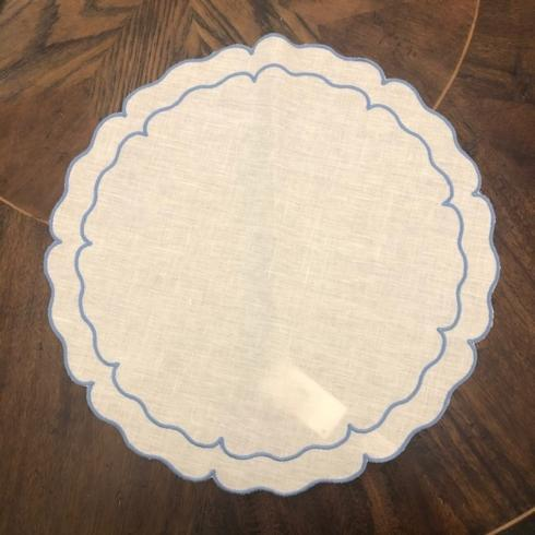 Babcock Exclusives  Skyros Designs Linho Round White/Blue Placemat SKL-123 $25.00