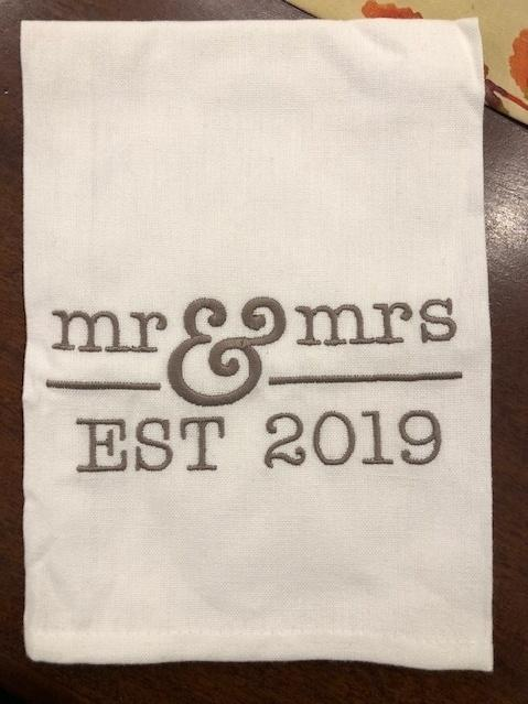 Babcock Exclusives  Hanging By a Thread Mr and Mrs Est. 2020 Towel HBT-016 $15.50