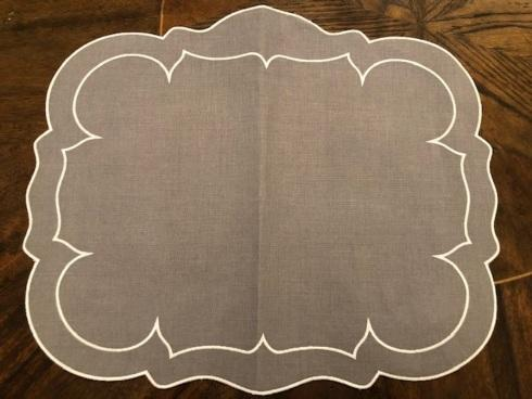 Babcock Exclusives  Skyros Designs Linho Charcoal Scalloped Rectangular Placemat SKL-029 $25.00