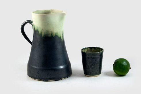Alison Evans   Mint & Charcoal Pitcher AEC-064 $177.00