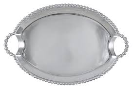 Mariposa   Pearled Oval Handled Tray MAR-393 $159.00