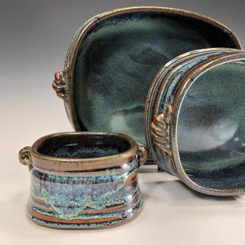 Babcock Exclusives  Steve Tubbs Pottery Blue Galaxy Large Rectangular Baker STP-004 $85.00