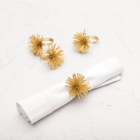 $24.00 Spike Golden Napkin Rings set/4 CFE-038