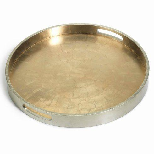 $61.00 Round Antique Gold/Silver Serving Tray ZOD-887