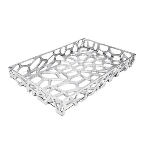 Babcock Exclusives  Worlds Away Silver Organic Iron Tray w/Glass WAY-073 $199.50