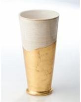 $191.50 White/Gold Wave Bottom Vase ABI-182