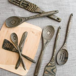 """$11.00 12"""" Black Pakka Wood Spoon ILB-008"""