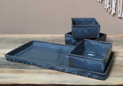 Alex Marshall   Blue Gray Gourmet Rectangular Tray AMS-160 $86.00