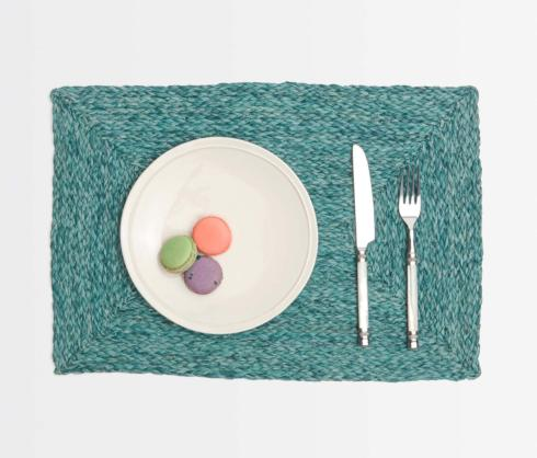 Blue Pheasant  Linens Zoey Mixed Blue Rectangular Mat BPH-251 $26.00