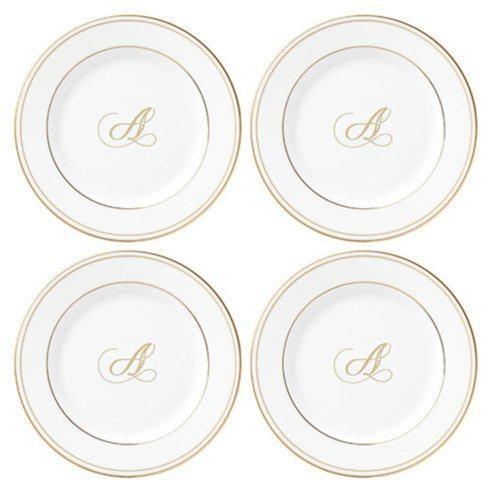 Lenox  Federal Gold Tidbit Plate set/4 Script