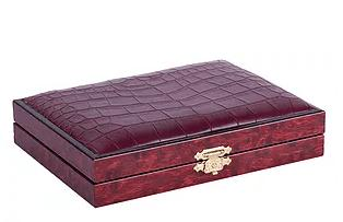 F.G. Galassi   Burgundy Croc Double Card Box FGG-152 $57.00