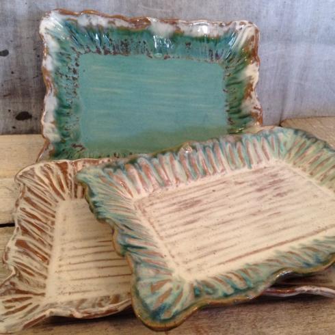 """Etta B Pottery  Serving Pieces 16"""" Rectangular Scalloped Platter EBP-038 $122.00"""