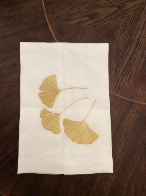 Anali   Gold Leaf Ginko Guest Towel Coffee ANI-149 $36.00