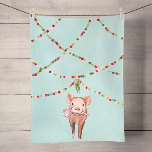$14.50 Holiday Festive Pig Towel GBA-017
