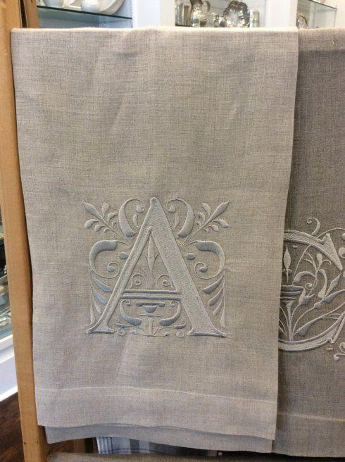 Babcock Exclusives  Hanging By a Thread Oatmeal w/Regency Initial Towel Assorted HBT-170 $19.50