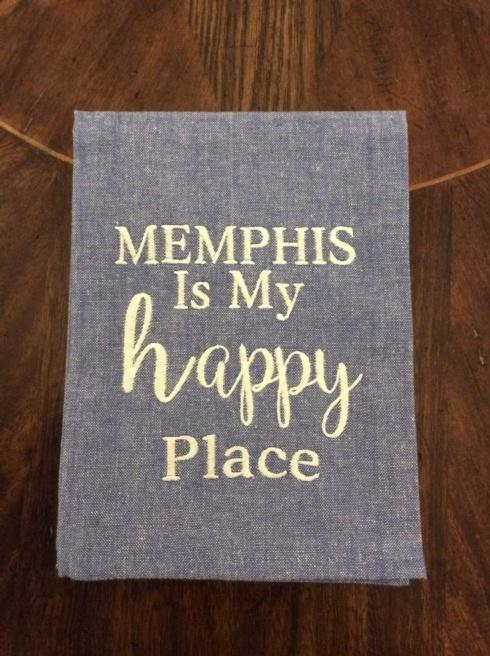 Babcock Exclusives  Hanging By a Thread Memphis is My Happy Place Blue Chambray Towel HBT-175 $14.50