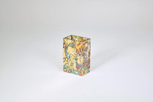 $35.50 Short Rectangular Vase Variegated Blue Assorted TCH-155
