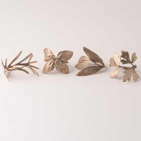 Michael Michaud Table Art   Antique Bronze Italian Herb Napkin Rings set/4 TAR-092 $73.00