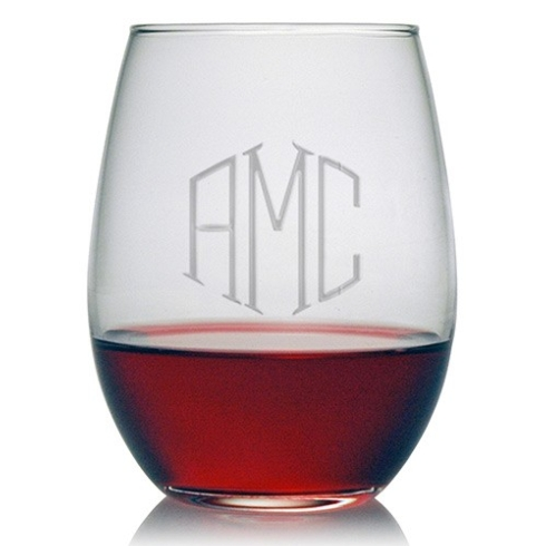 Susquehanna Glass   Stemless Wine 3 Letter Classic set/4 SQG-053 $60.00