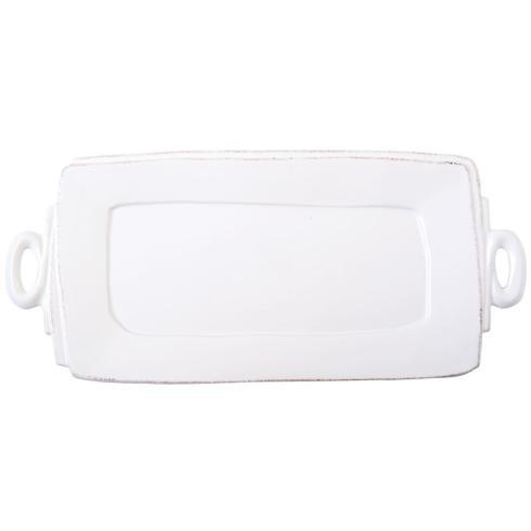 Lastra White Hdld Rect. platter