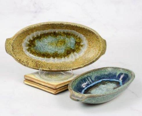 Babcock Exclusives  Kerry Brooks Pottery Oval Dish w/Glass Assorted KER-218 $43.00