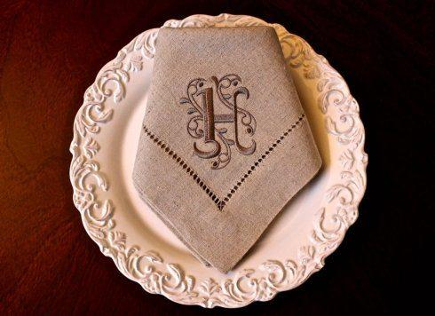 Babcock Exclusives  Southern Traditions Oatmeal Napkin w/Eurostyle Initial STR-021 $22.00