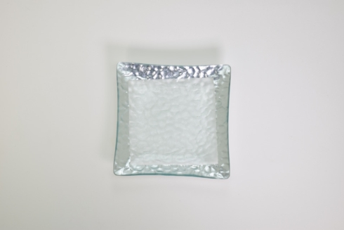 "$32.00 8"" Sq. Hammered Glass Plate Silver TCH-010"