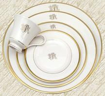 $80.00 Signature Ivory Gold W/Mono Dinner PKD-151