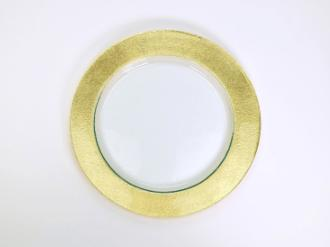 $88.00 14.5x10.5 Round Gold Texture Cake Plate TCH-055