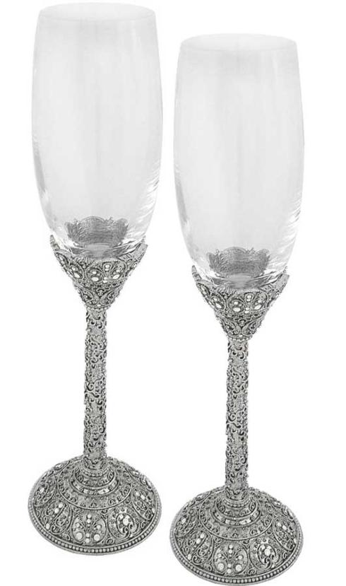 $188.00 Jeweled Champagne Flutes set/2 TIZ-751