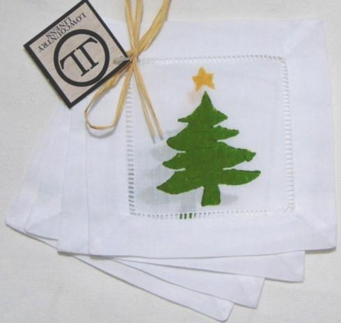 Low Country Linens   Dark Green Tree w/Gold Star Cocktail Napkins set/4 LCL-106 $20.00