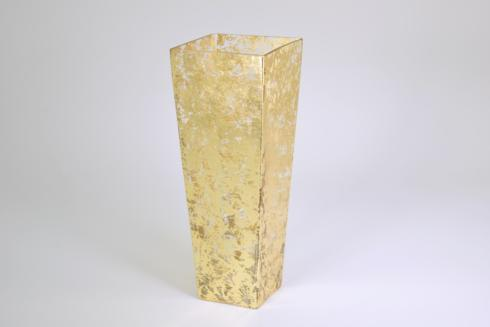 "Tamara Childs   12"" Tapered Square Gold Vase Wabi Sabi TCH-188 $110.00"