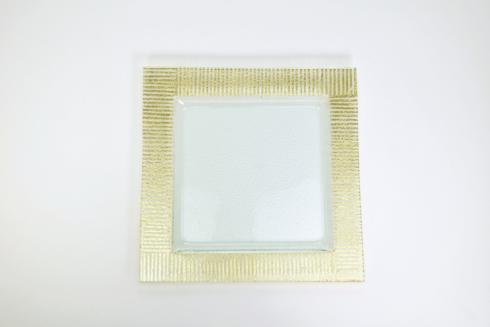 "$32.00 8"" Square Hammered Dessert Gold ZigZag TCH-224"