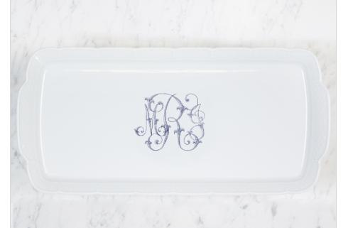 Sasha Nicholas  Weave White Rectangular Platter With Custom Monogram $158.00
