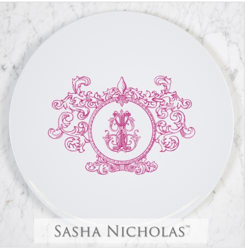 Cake Plate with Fleur De Lis Crest
