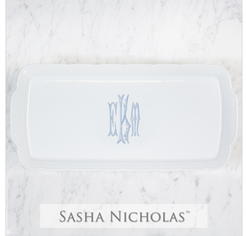Sasha Nicholas  Custom Pieces Rectangular Platter with EKM Monogram $158.00