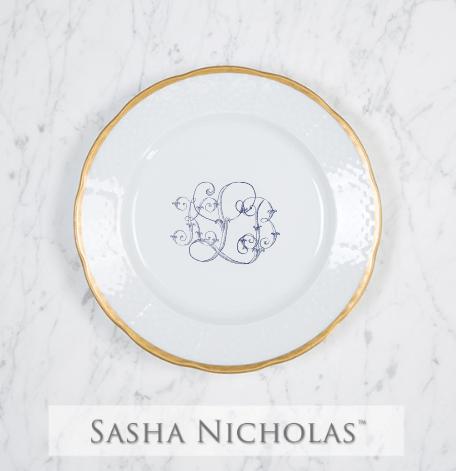 Sasha Nicholas  Weave 24k Gold KLB Custom Salad Plate $66.00