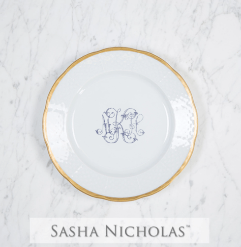 Sasha Nicholas  Weave 24k Gold MKH Gold Rimmed Salad Plates $66.00