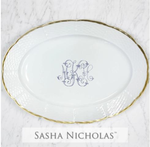 Sasha Nicholas  Weave 24k Gold MKH Gold Rimmed Oval Platter $215.00
