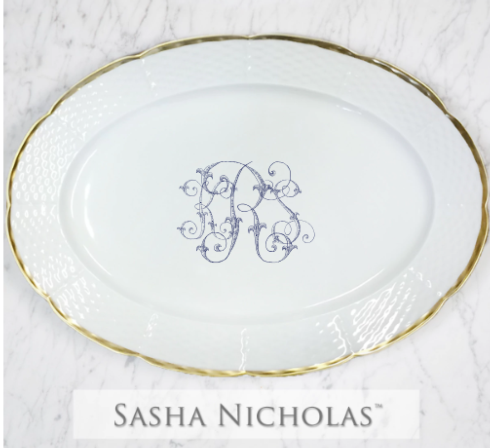 Sasha Nicholas  Custom Pieces KRS Oval Platter 24K Gold  $215.00