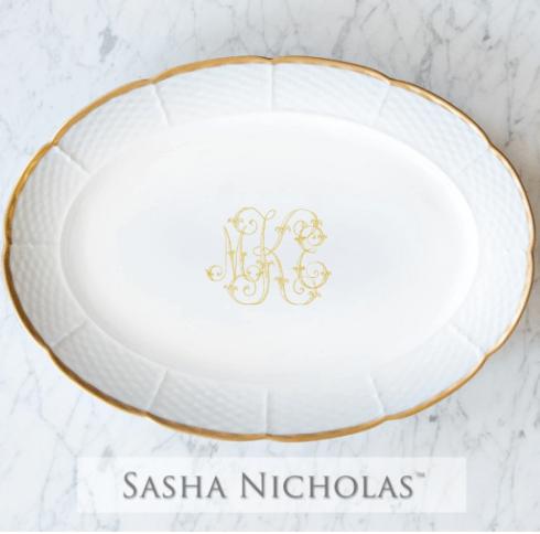 Sasha Nicholas  Custom Pieces Kanady Custom Gold Oval Platter  $225.00