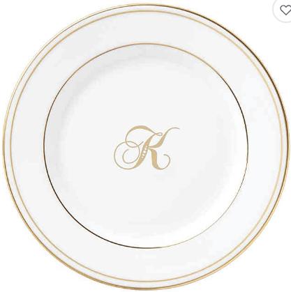 "Lenox  Federal Gold Script Monogram  Script ""K"" Bread & Butter Plate $20.00"