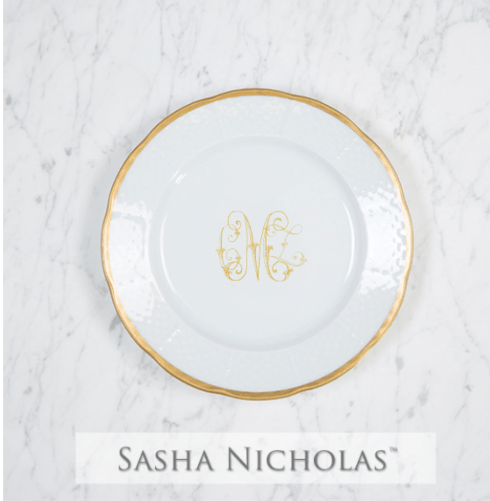 Sasha Nicholas  Custom Pieces McQueen Custom Gold Weave Salad Plate $69.00