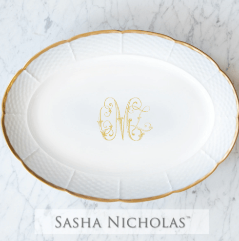 Sasha Nicholas  Custom Pieces McQueen Custom Gold Oval Platter $225.00