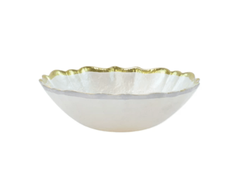 BC Clark Exclusives   Viva by Vietri Baroque Glass Small Bowl - White  $23.00